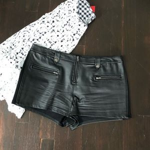 French Connection black faux leather shorts (M)